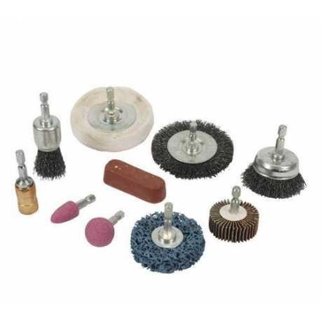 KIT 10pz pulizia e lucidatura uso per trapano spazzole dischi abrasivi mola