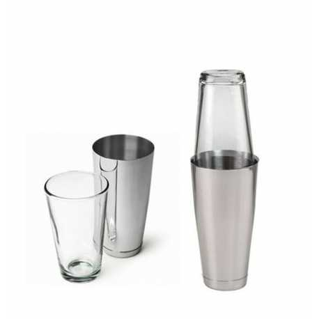 COCKTAIL SHAKER BOSTON  ACCIAIO INOX  E VETRO CAPACITA' 500 ML BAR