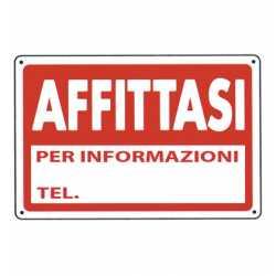 CARTELLO SEGNALETICO AFFITTASI TARGA 20x30