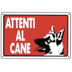CARTELLO SEGNALETICO ATTENTI AL CANE CM 20x30